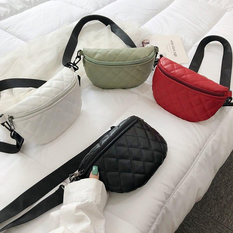 GABWE Women Outdoor Zipper Leather Messenger Bag Shoulder Belt Cellphone Sport Chest Bag Hip-hop Rock Geometric Waist Bag Girls