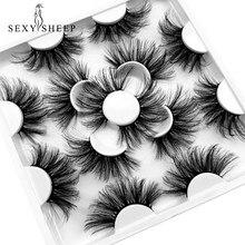 SEXYSHEEP – faux-cils en vison 8D 25MM, 5/7 paires, Kit de maquillage pour les yeux longs, bouclés et pelucheux