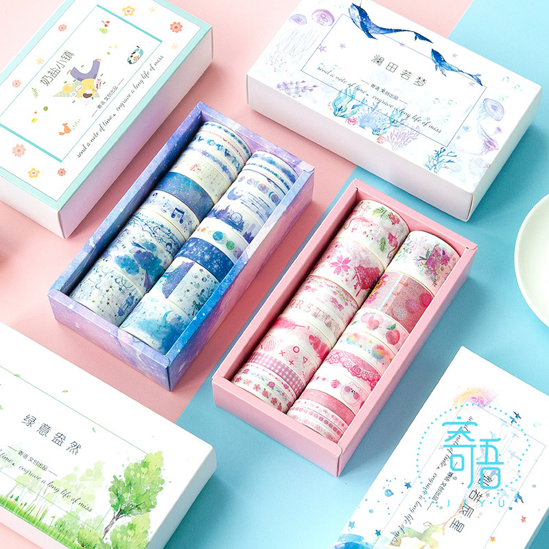20 Rolls/Box Plants Star Ocean Color Paper Tape DIY Decorative Scrapbooking Masking Washi Tape Stationery Office Adhesive