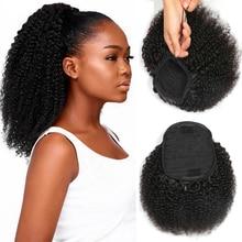 Eotltive – Extension de cheveux brésiliens naturels crépus et bouclés pour femmes, 8 à 26 pouces, avec cordon de serrage