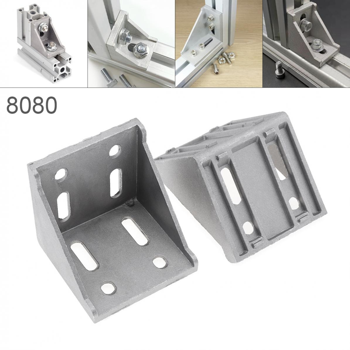 <font><b>8080</b></font> Nuts Aluminum Corner L Shape Right Angle Support Connector <font><b>Extrusion</b></font> Industrial Aluminum Profile image