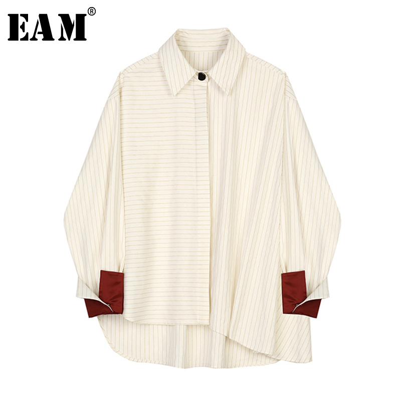 [EAM] Women Beige Striped Split Big Size Blouse New Lapel Long Sleeve Loose Fit Shirt Fashion Tide Spring Autumn 2020 1S388
