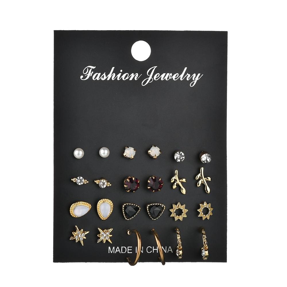 25 Style Heart Flowers Infinite Symbol Stud Earrings Set 2019 New Rhinestone imitation Pearl Earrings for Women Gift in Stud Earrings from Jewelry Accessories