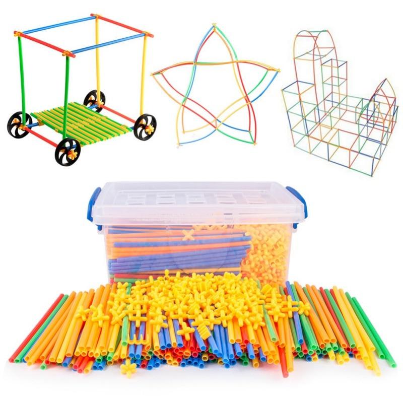 4d diy 밀짚 빌딩 블록 플라스틱 건설 조립 블록 아이들을위한 벽돌 교육 완구 선물 700 개/대