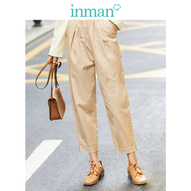 INMAN 2020 Spring New Arrival Minimalist Loose Cotton Solid Color Flower High Waist Fitting Fashion Cropped Causal Pants