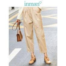 INMAN 2020 primavera nueva llegada minimalista suelta de algodón de Color sólido Flor Alta cintura ajustada moda recortada pantalones causales