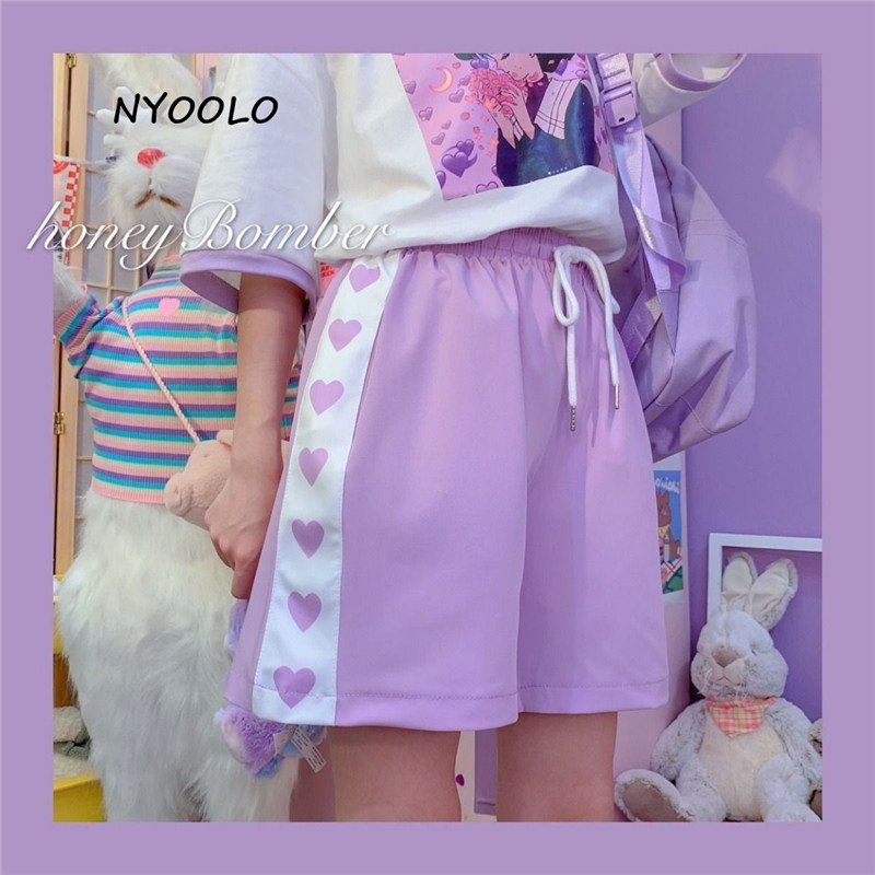 NYOOLO Harajuku Style Love Heart Print Patchwork High Waist Shorts Women 2020 Summer Elastic Waist Drawstring Sweet Girls Shorts