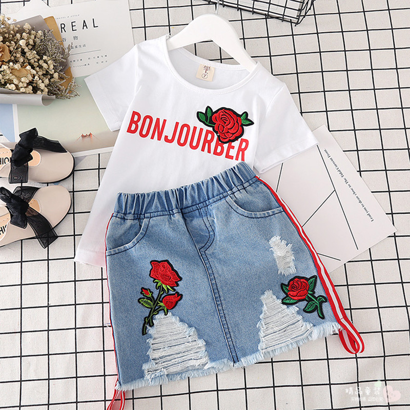 Children Clothes Summer Cotton Baby Girls Clothes Set T-shirt+Denim Skirt Tracksuit Suit Kids Clothes For Toddler Girls 2 8 Year