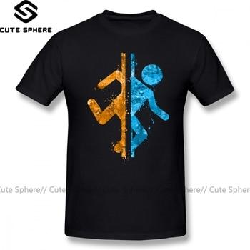 Portal T Shirt Portal Splatter T-Shirt Printed Casual Tee Shirt Mens Cute 5x Cotton Short Sleeves Tshirt цена 2017