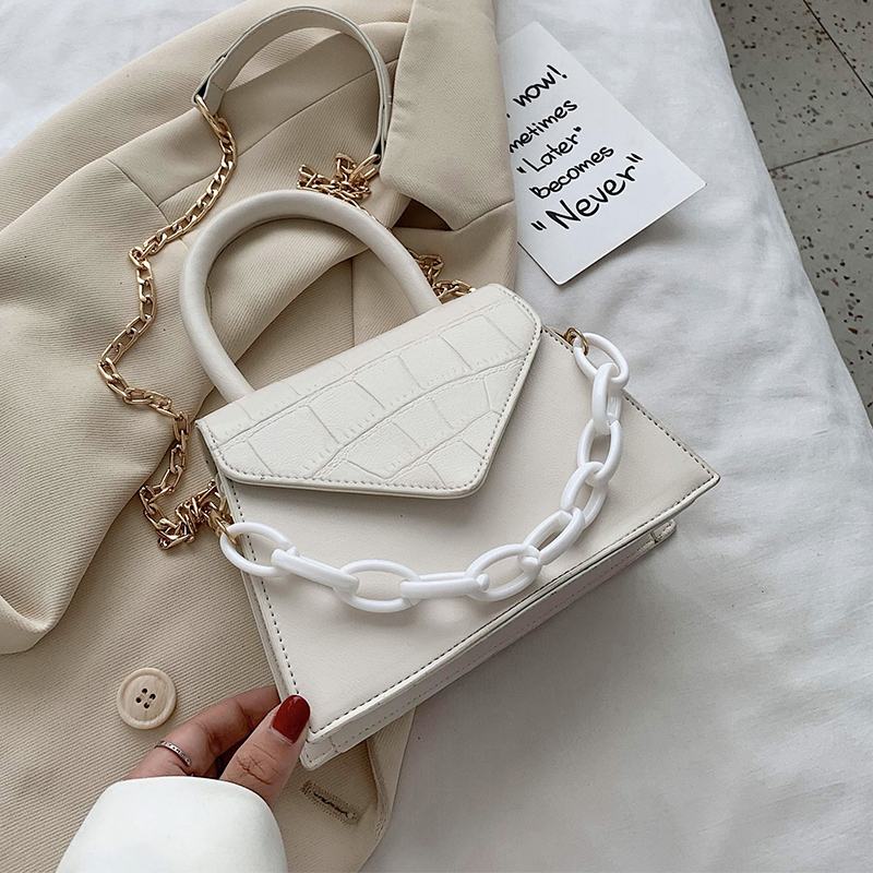 Stone Pattern Chain PU Leather Crossbody Bag For Women 2020 Summer Simple Style Solid Color Shoulder Handbags Cross Body Bag