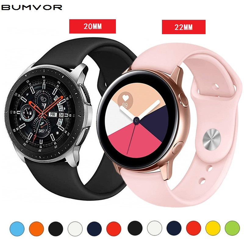 Silicone Strap For Samsung Galaxy Watch 46mm/42mm/Active 2 Band Gear S3/S2/Sport 20mm/22mm Bracelet Huawei Wtach GT S 3 42 46 Mm