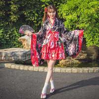 Japanese Fashion Kimono Girls Red/Pink Black Lolita Cosplay Performance Costume Japan Style Traditional Yukata For Women DQL1882