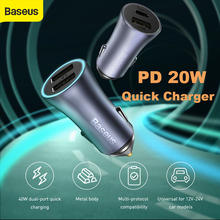 Baseus PD 20W Car Charger USB Type C Fast Charging For iPhone 12 Pro Max Car Phone Charger with QC 4.0 Quick Charge for Huawei