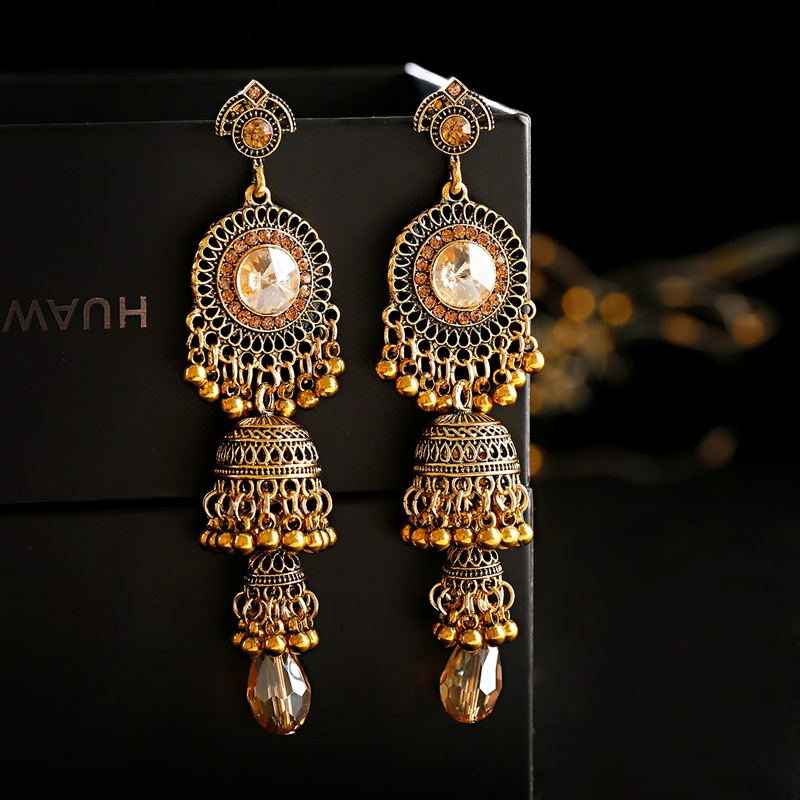 Retro Gold Earrings Indian Jewelry For Women 2019 Geometric Boho Long Bell Tassel Statement Wedding Vintage Earrings