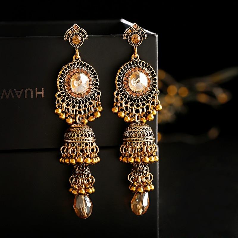 Retro Gold Earrings Indian Jewelry For Women 2019 Geometric Boho Long Bell Tassel Statement Wedding Vintage Earrings