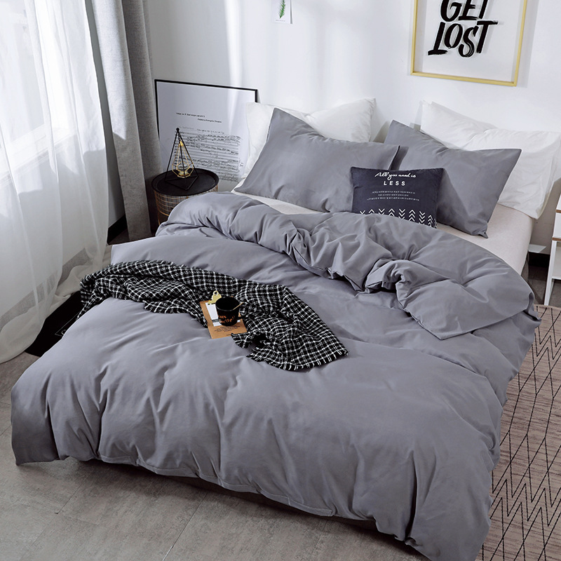 soft silky solid blue grey black white duvet cover set luxury egyptian cotton brief bedding set bed sheet twin queen king size