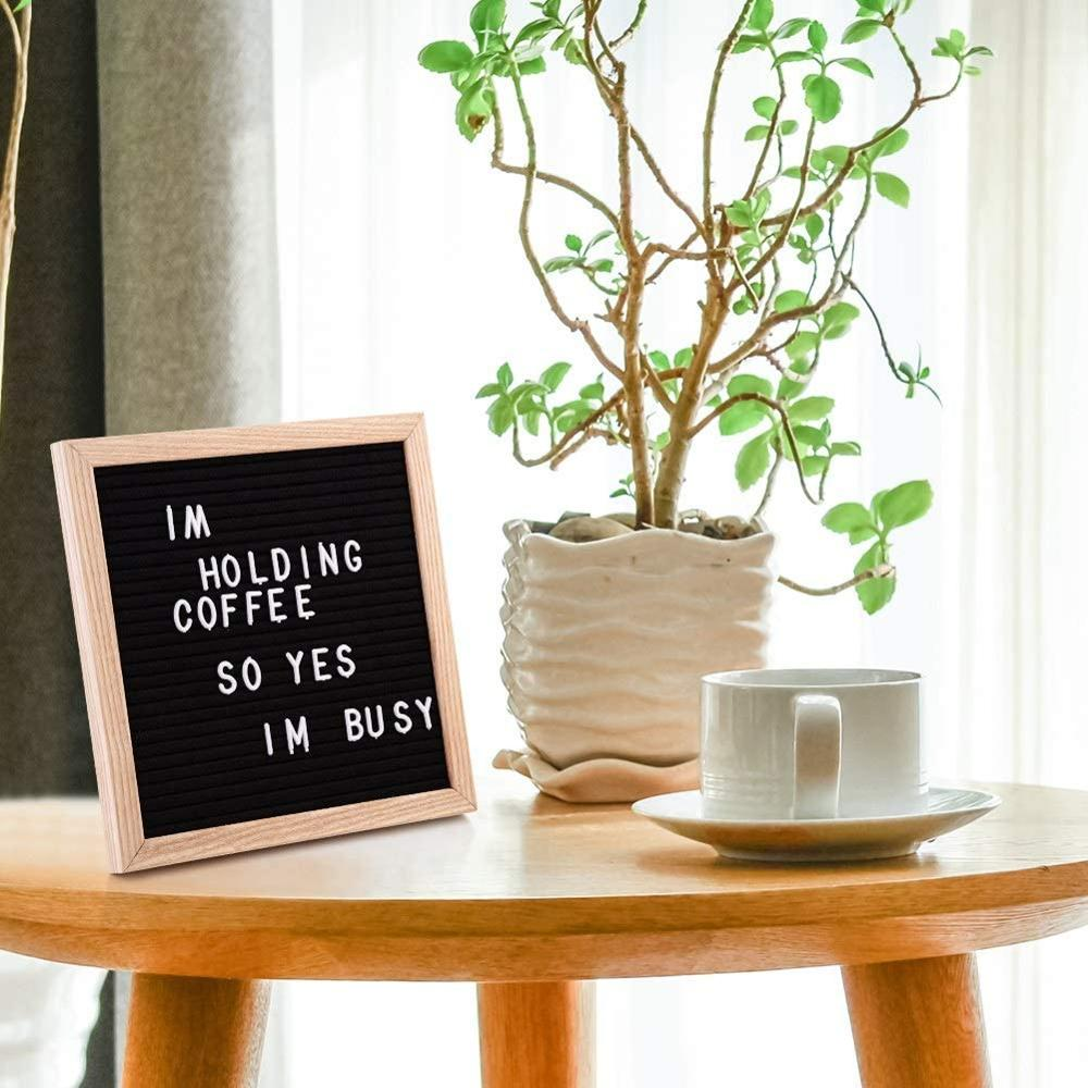 10x10 Inches Double Sided Felt Letter Board Changeable Message  Black  Sign Message Home Office Decor Board