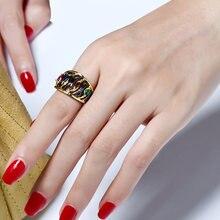 Модное Дизайнерское черное кольцо на палец с разноцветными камнями