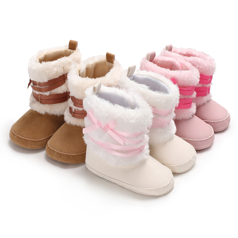 2019 Infant Toddler Baby Girl Fur Snow Boots Winter Warm Booties Crib Shoes Prewalker  0-18M
