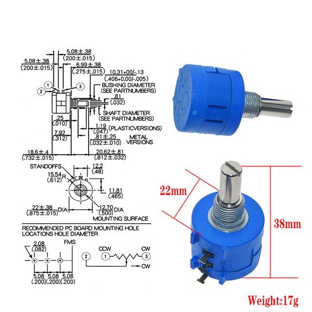 WAVGAT 3590S Multiturn Potentiometer 500 1K 2K 5K 10K 20K 50K 100K ohm Potentiometer Adjustable Resistor 3590 102 202 502 103 1