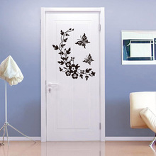Butterfly and flower vine wall stickers toilet refrigerator door and window wall detachable decorative wall stickers flower rattan butterfly design toilet waterproof wall sticker