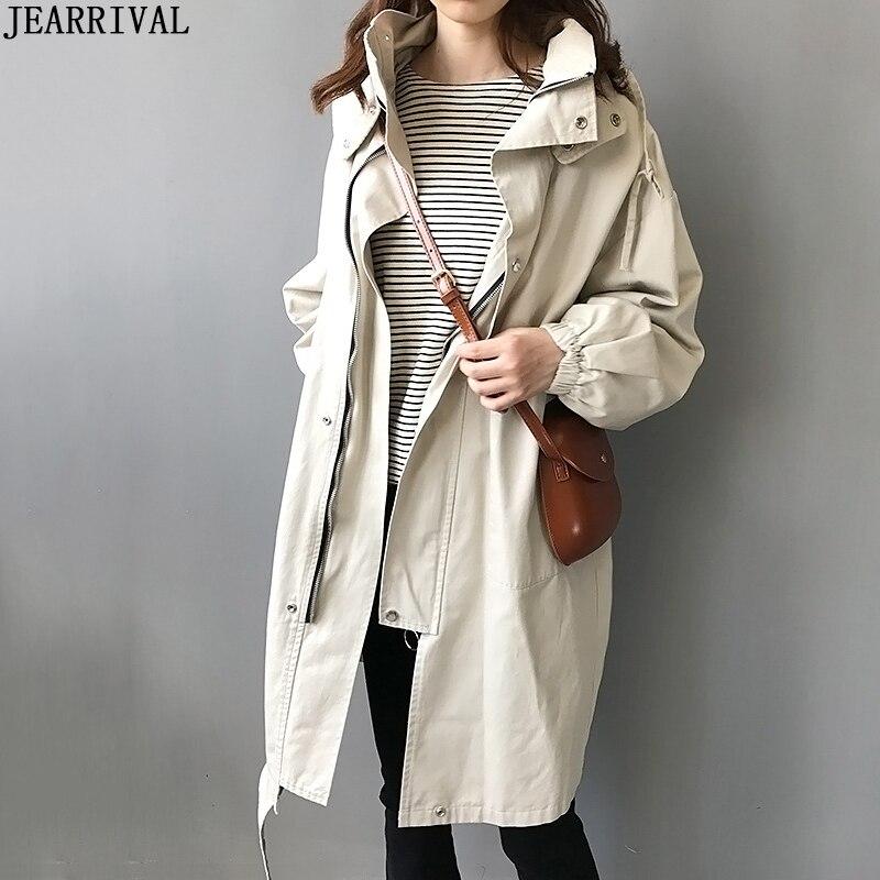New 2019 Autumn Women's   Trench   Coat Zipper Hooded Khaki Long Coat Korean Fashion Loose Casual Outwear Female Oversized Outwear