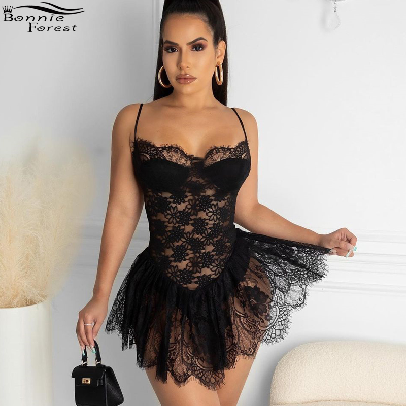 Bonnie Forest Summer Sundress Womens Spagetti Straps Hollow Out Black Lace Mini Dress Party Club Wear Night Out Robes Sleepwear|Dresses| - AliExpress