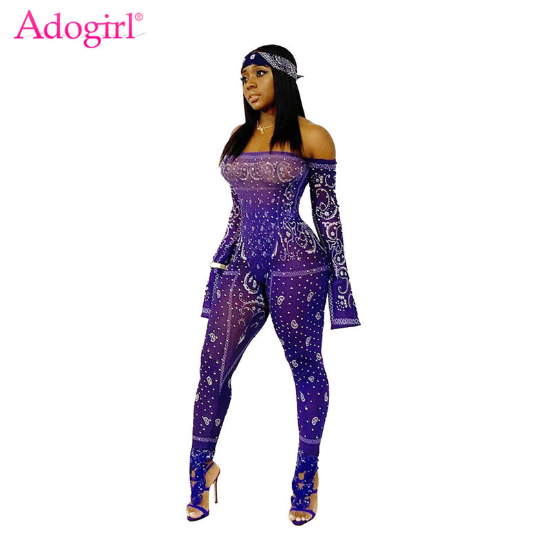Adogirl Fashion Print Sheer Mesh Jumpsuit Women Sexy Slash Neck Long Sleeve Night Club Romper Skinny Overalls Female Bodysuits