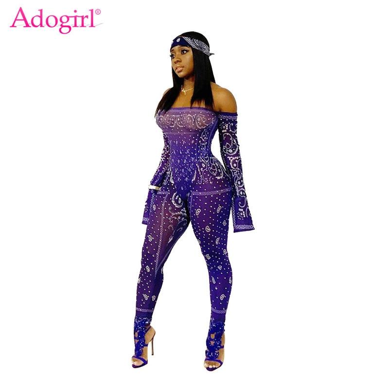 Adogirl Fashion Print Sheer Mesh Jumpsuit Women Sexy Slash Neck Long Sleeve Night Club Romper Skinny Overalls Female Bodysuits