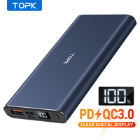 Topk 10000 mah power bank pd qc3.0 carregamento rápido portátil usb c display led carregador de bateria externa para xiao mi 9 8 iphone Baterias Externas Telefonia e Comunicação -