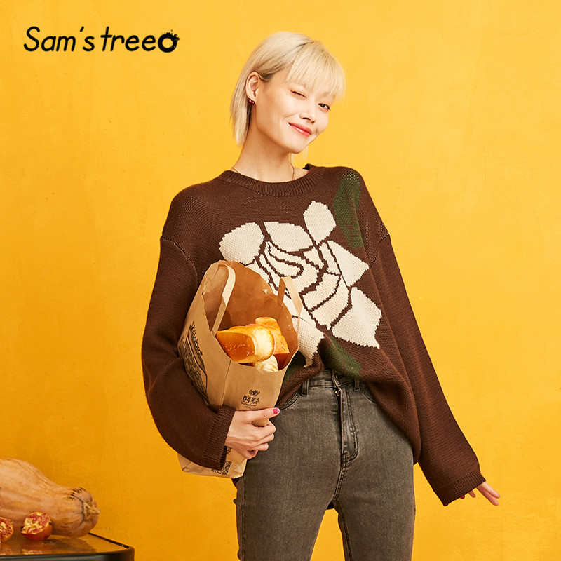 SAM'S TREE Coffee Big Floral Korean Oversize Sweater Women Clothes 2019 Autumn Drop Shoulder Casual Office Ladies Knitted Tops