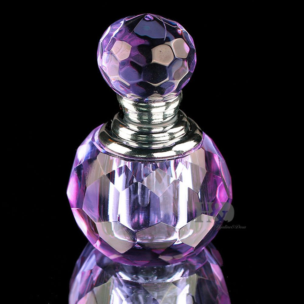 Mini Portable Crystal Glass Bottle Purple Lavender Refillable Glass Bottle Gift Cut Perfume Glass Bottle