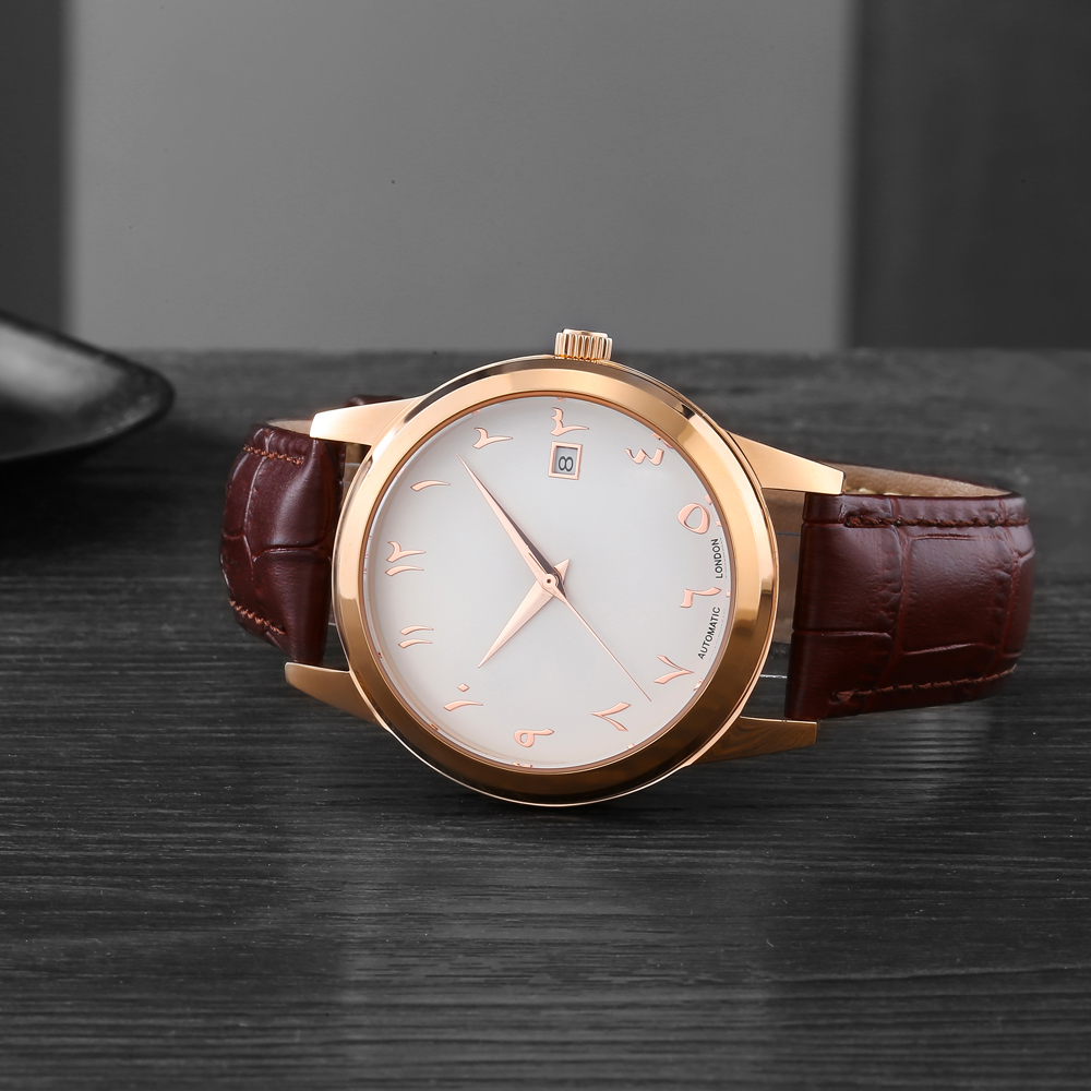 Luxury Arabian Watches Automatic Movement Self Wind Mechanical Arabic Number Watch Waterproof Dropshipping Shopify