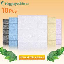 Kaguyahime 10pcs 3D Waterproof Wall Stickers DIY Self-Adhesive Wallpaper Brick Decorative Wallpaper For TV Backdrop Living Room