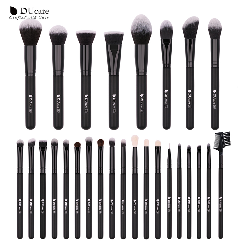 DUcare 27PCS Makeup Brushes Powder Foundation Eyeshadow Make Up Brushes Set Cosmetic Brushes With Bag Soft Synthetic Goat Hair