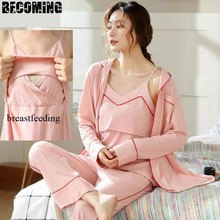 Cotton Maternity Long Sleeve Pajamas Women Nursing Nightwear Pregnant Breastfeeding Pajamas Maternity Summer Nursing Pajamas summer maternity wear striped breastfeeding short sleeve nursing dress pure color loose open forked long t shirt pregnant cloth