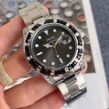 TACTO-reloj analógico de cuarzo para hombre, nuevo accesorio de pulsera resistente al agua con calendario, complemento Masculino de marca de lujo con diseño de diamantes en color negro y bisel, 41mm, 2020