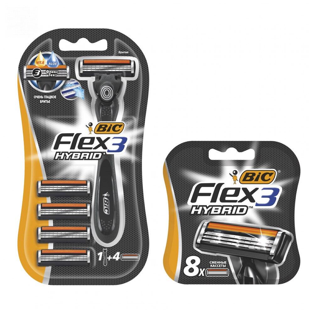 Мужская бритва BIC Flex 3 Hybrid с 4 сменными кассетами + Сменные кассеты BIC Flex 3 Hybrid 8шт|Бритва|   | АлиЭкспресс