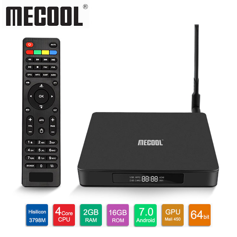 MECOOL K6 <font><b>Android</b></font> 7.0 TV <font><b>Box</b></font> 2GB RAM 16GB ROM 2,4G & 5G WiFi set top <font><b>box</b></font> 100Mbps 4K smart <font><b>box</b></font> VP9 USB3.0 DVB S2-<font><b>T2</b></font>-C Set Top <font><b>Box</b></font> image