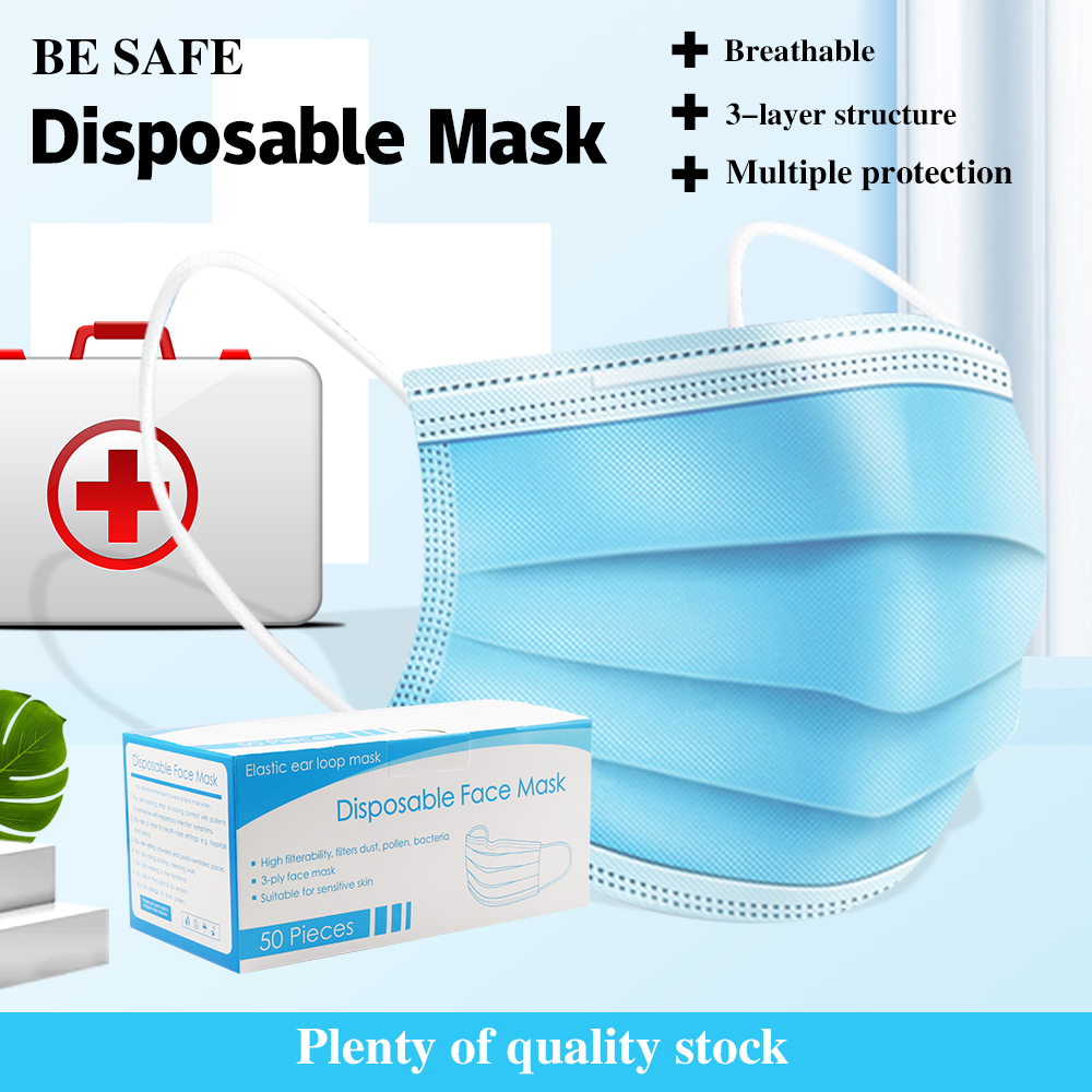 Fast Delivery Anti-Bacteria 3-layer Mask Face Mouth Masks Non Woven Disposable Anti-Dust Meltblown Cloth Masks Earloops Masks