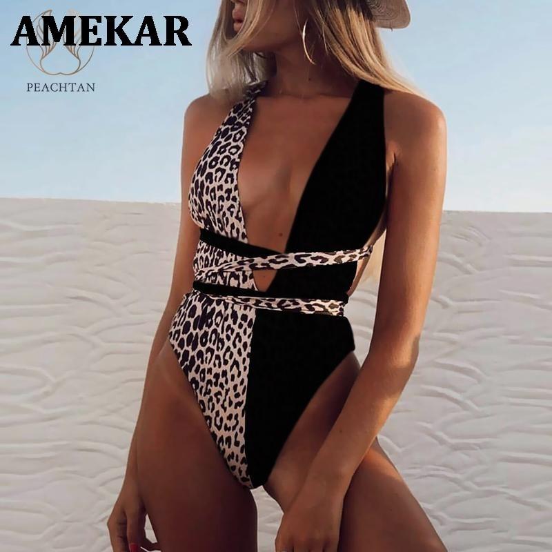 Peachtan imprimé léopard une pièce maillot de bain femme col en v profond bikini 2021 pansement maillot de bain monokini femmes baigneurs