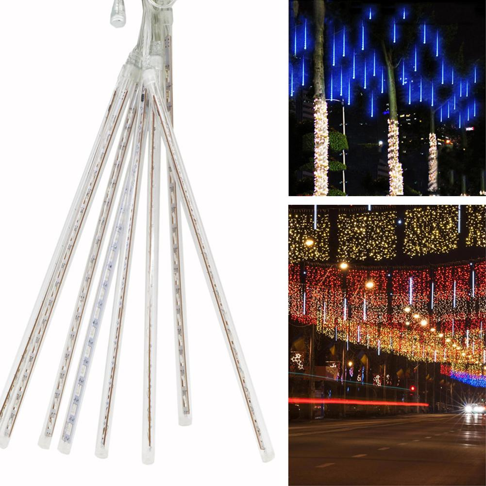 8pcs/set 30cm Hollow Waterproof LED Meteor Shower Lamp Garden Street Tree Decoration Lights US Plug Night Lights Pendant Lights