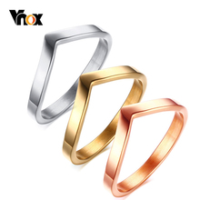 Vnox Women Simple V Shaped  Rings for Party Jewelry Gold Silver Rose Gold Tone Stainless Steel Ring Gifts for Female yahui stainless steel simple heart gold silver rose gold ring rings for women accessories jewellery gifts for women jewellery