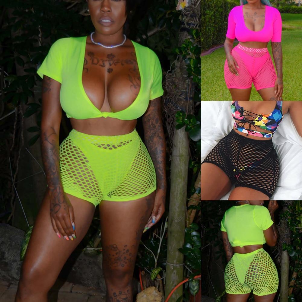 Hirigin Sexy Fishnet Women Beach Shorts Bikini Cover Up Pants 2020 New High Waist Solid Short Pants Women Bathing Suit Swimwear