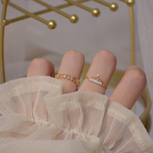 14K Настоящее Золото Микро-инкрустация Циркон Любовь Темперамент Корона Цепочка Открытый Дизайн Cz Кольцо для Женщин