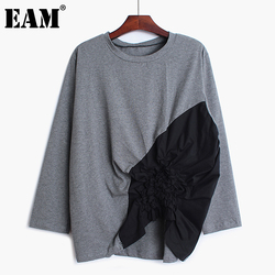 [EAM] Women Spliced Pleated Loose Fit T-shirt New Round Neck Long Sleeve Fashion Tide All-match Spring Autumn 2021 1B351