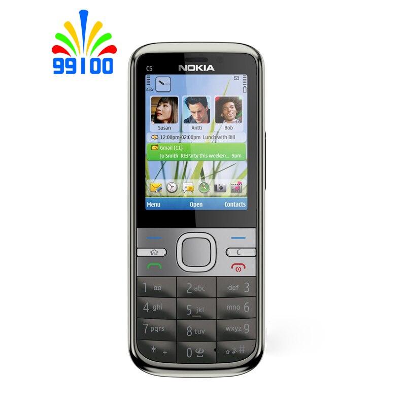Восстановленный разблокированный сотовый телефон Nokia C5 C5-00 3G телефон GSM/WCDMA (телефон + аккумулятор + зарядное устройство) камера МП/МП