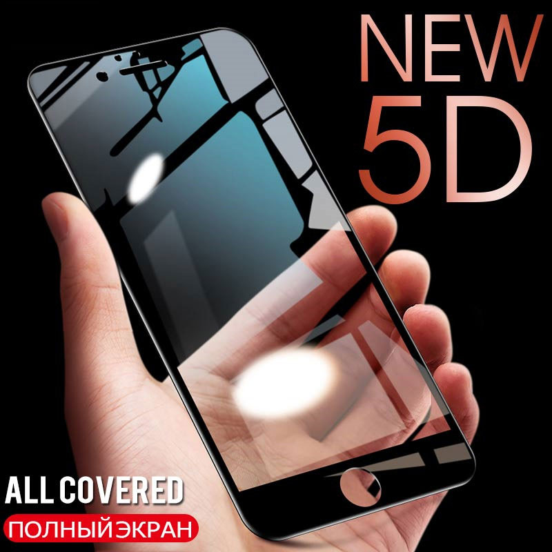 5D Full Cover Tempered Glass On The For IPhone 7 8 6 6s 5 5S SE Screen Protector For IPhone X 10 8 6 7 Plus Protective Glass