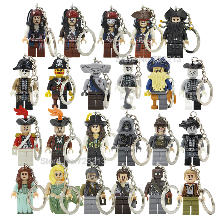 Pirates Of The Caribbean Captain Jack Sparrow Keychain Davy Jones Salazar Barbossa Key Ring Building Blocks Toys Legoing