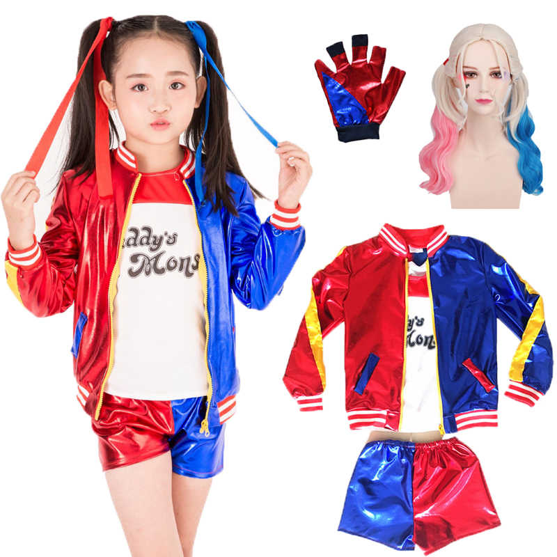 Kids Girls Suicide Squad Harley Quinn Coat Shorts Top Set Girls Clothing Set Suicide Squad Children Cosplay Costumes 5 pcs Suit